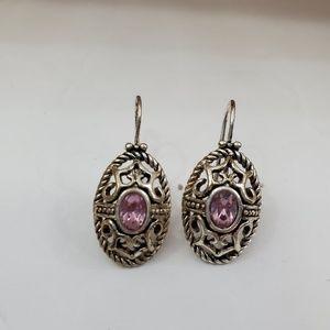 Avon SH Earrings Pink Rhinestone Silver Tone Filig